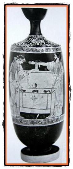 Danae si micutul Perseu aruncati intr-un scrin
