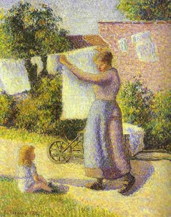 Femeie intinzand rufele pictura Camille Pissarro