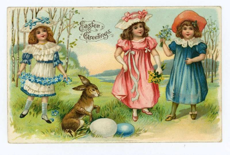 Felicitari vintage de Paste cu copii